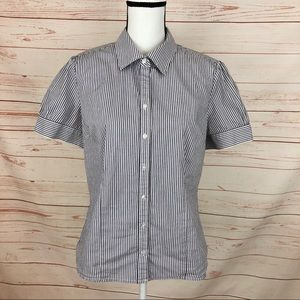 Merona Blue & White Striped Button Down Shirt